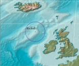 Location of Rockall in North Atlantic Ocean